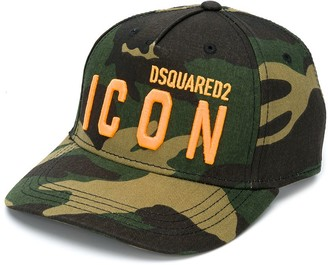 DSQUARED2 TEEN embroidered-logo camouflage cap