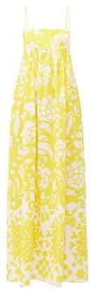Raey Empire-waist Hippy Floral-print Cotton Maxi Dress - Womens - Yellow Print