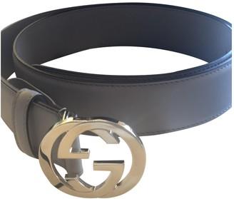 Gucci Interlocking Buckle Grey Leather Belts