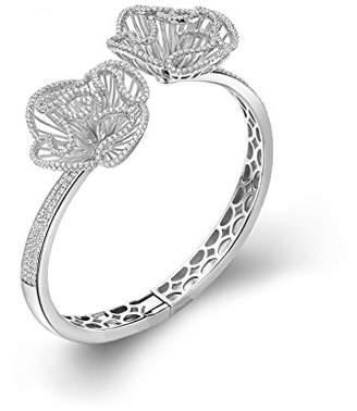 L・I・U Fei Liu Fine Jewellery Cascade Womens Large Size Bangle in White Rhodium colour Award winning Design 925 Sterling Silver AAA Cubic Zirconia Gift Box Packed