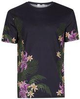 Topman Black Floral Hem T-Shirt