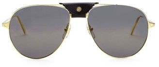 Cartier 59MM Leather-Trim Aviator Sunglasses