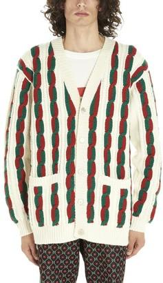 Gucci Braided Striped Cardigan