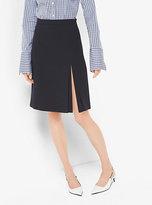 Michael Kors Wool-Crepe Broadcloth Slit Skirt