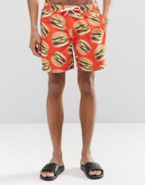 Asos Swim Shorts With Burger Print In Mid Length