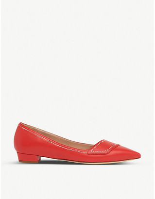 LK Bennett Polly contrast stitch leather flats