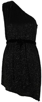 retrofete Ella black one-shoulder sequin mini dress