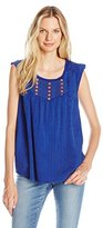 Lucky Brand Women's Washed Knit Top in Blue