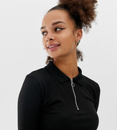 New Look polo top with zip in black