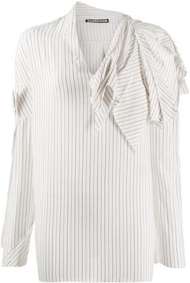 aganovich striped raw edge shirt