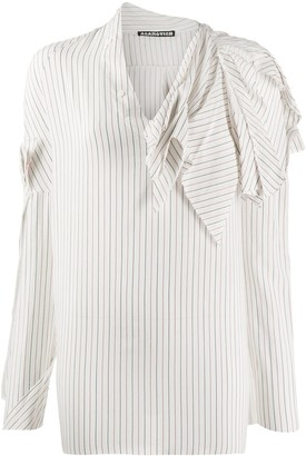 aganovich Striped Raw Edge Shirt