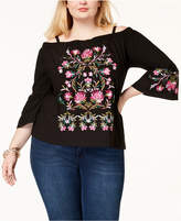 INC International Concepts Plus Size Embroidered Off-The-Shoulder Top, Created for Macy's