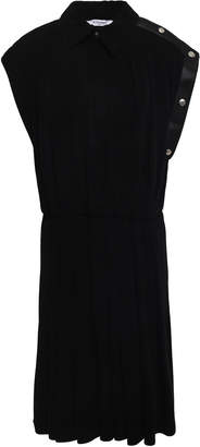 Givenchy Pleated Leather-trimmed Ponte Dress