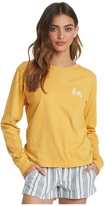 Roxy Crystal Cover Long Sleeve Tee (Mineral Yellow) Women's Clothing