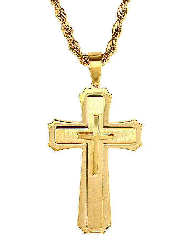JCPenney FINE JEWELRY Mens Gold-Tone Ion-Plated Stainless Steel Cross Pendant Necklace