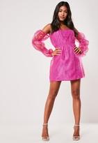 Missguided Pink Bardot Organza Mini Dress