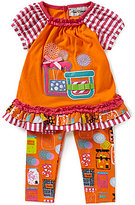 Rare Editions Baby Girls 12-24 Months Jar-Appliqued Mixed-Media Top and Printed Leggings Set