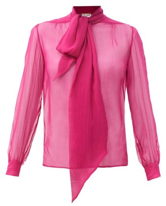 Saint Laurent Pussy-bow Silk-chiffon Blouse - Pink