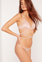 Missguided Lace Up Satin and Mesh Triangle Bra Pink