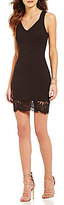 French Connection Lula V-Neck Sleeveless Lace Inset Bodycon Dress