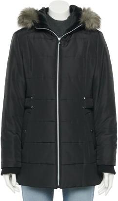 Details Women's Side Tabe Faux Fur Trimmed Hood Puffer Jacket