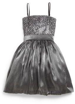 Un Deux Trois Girl's Iridescent Sequin Dress