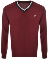 Fred Perry V Neck Knit Jumper Red