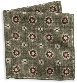Brunello Cucinelli Reversible Check & Tapestry Print Pocket Square