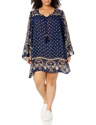 Angie Women's Plus Size Navy Bell Sleeve Dress 1X