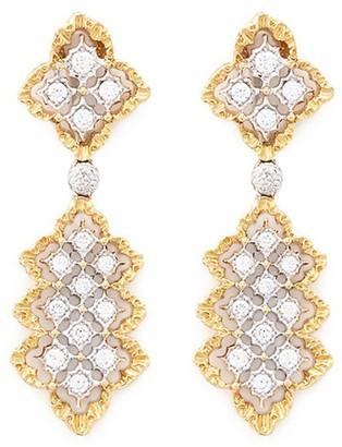 Buccellati 'Rombi Pendant' diamond 18k white and yellow gold drop earrings