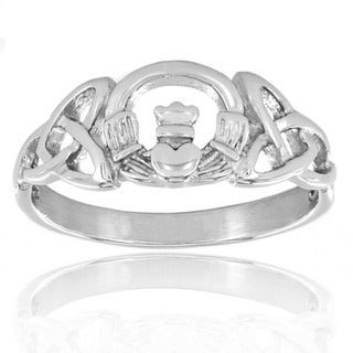 West Coast Jewelry Stainless Steel Celtic Trinity Knot Claddagh Ring