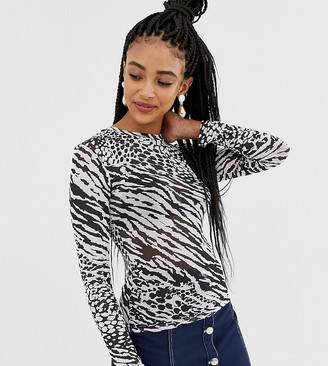 New Look mixed animal mesh top in black pattern