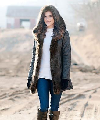 Donna Salyers' Fabulous Faux Furs Donna Salyers' Fabulous-Faux Furs Women's Car Coats Black - Black Faux Fur Fox Collar Trench Coat - Women & Plus