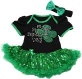 Petitebella My 1st St Patrick Day Baby Dress Black Bodysuit Sequin Tutu Nb-18m (6-12 Months)