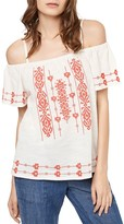 Sanctuary Magnolia Embroidered Cold-Shoulder Top