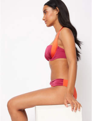 George Orange Halter Neck Balcony Bikini Top