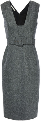 Antonio Berardi Belted Wool-tweed Dress