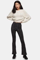 Topshop Womens Petite Black And White Ditsy Flare Trousers - Monochrome