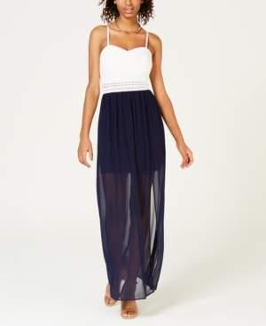 BCX Juniors' Adjustable Chiffon-Contrast Maxi Dress