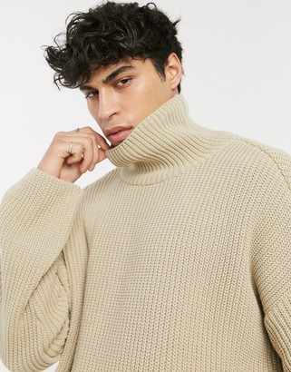 Asos DESIGN oversized funnel neck sweater in neutral