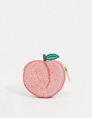 Skinnydip beaded peach coin purse