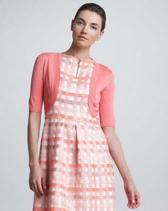 Lela Rose Classic Silk Knit Shrug, Coral
