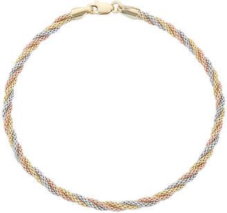 FINE JEWELRY 14K Tri-Color Gold 7.5 Inch Hollow Braid Chain Bracelet