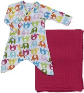 I Play Organic Gown & Blanket Gift Set (Baby) - Elephant - 0-3 Months