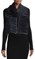La Fiorentina Layered Fur Scarf, Navy/Gray
