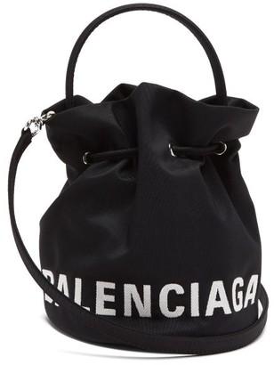 Balenciaga Wheel Xs Canvas Bucket Bag - Black Multi