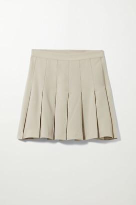 Weekday Check Short Pleated Skirt - Beige