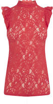 """Oasis RUFFLE LACE TEE [span class=""""variation_color_heading""""]- Rich Red[/span]"""