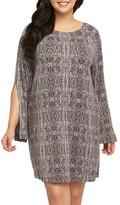 Tart Plus Size Women's Avia Print Split Sleeve Shift Dress