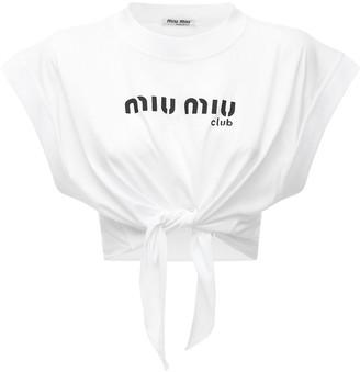 Miu Miu Cotton Jersey Top W/ Front Logo & Bow